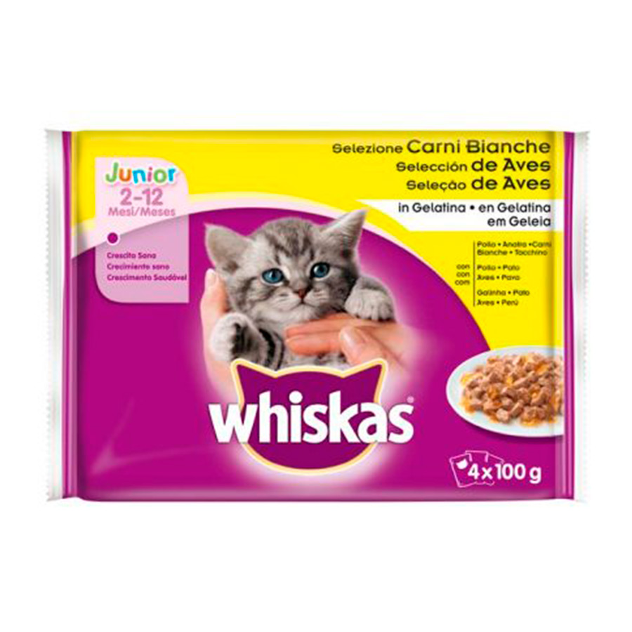Whiskas New Generation Junior 4 x 100 gr selección de aves, , large image number null
