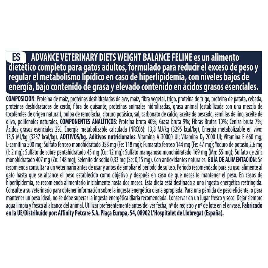 Affinity Advance Veterinary Diet Feline Weight Balance image number null