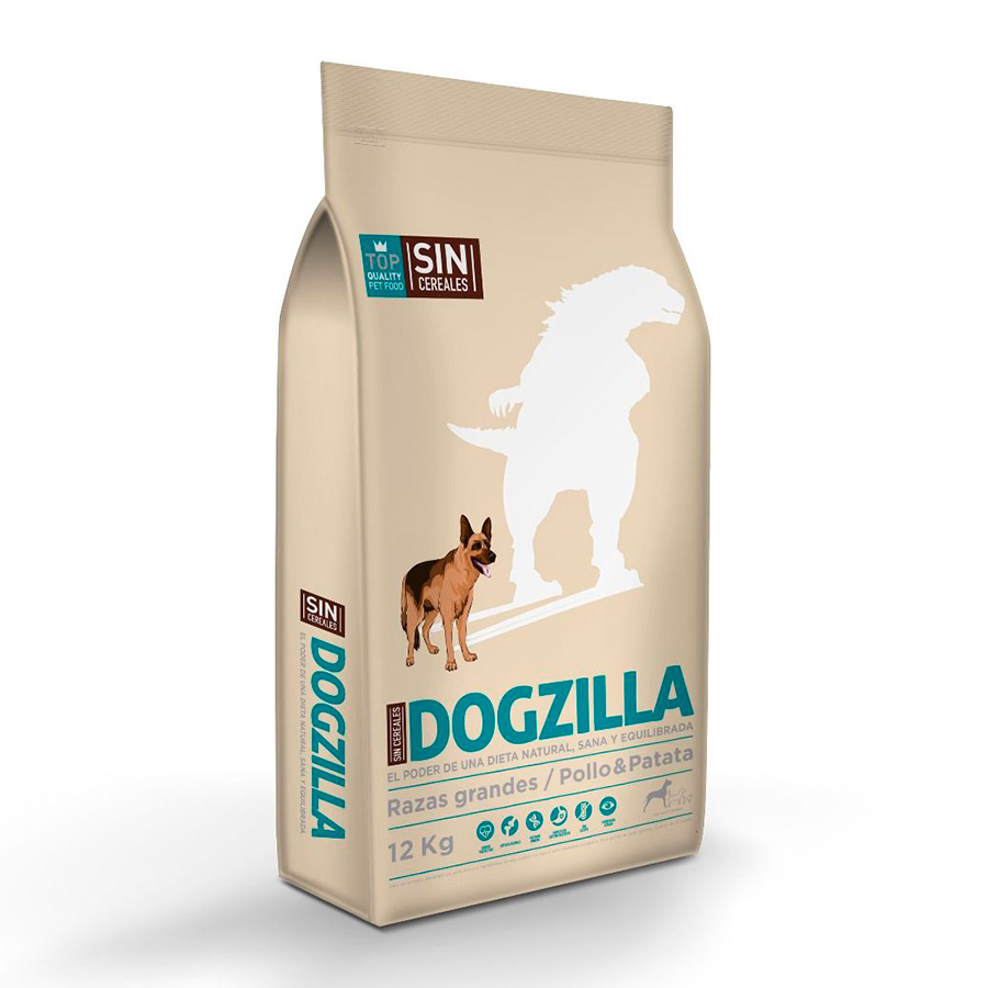 Dogzilla Pollo Sin Cereales Razas Grandes - 2x12 kg Pack Ahorro, , large image number null