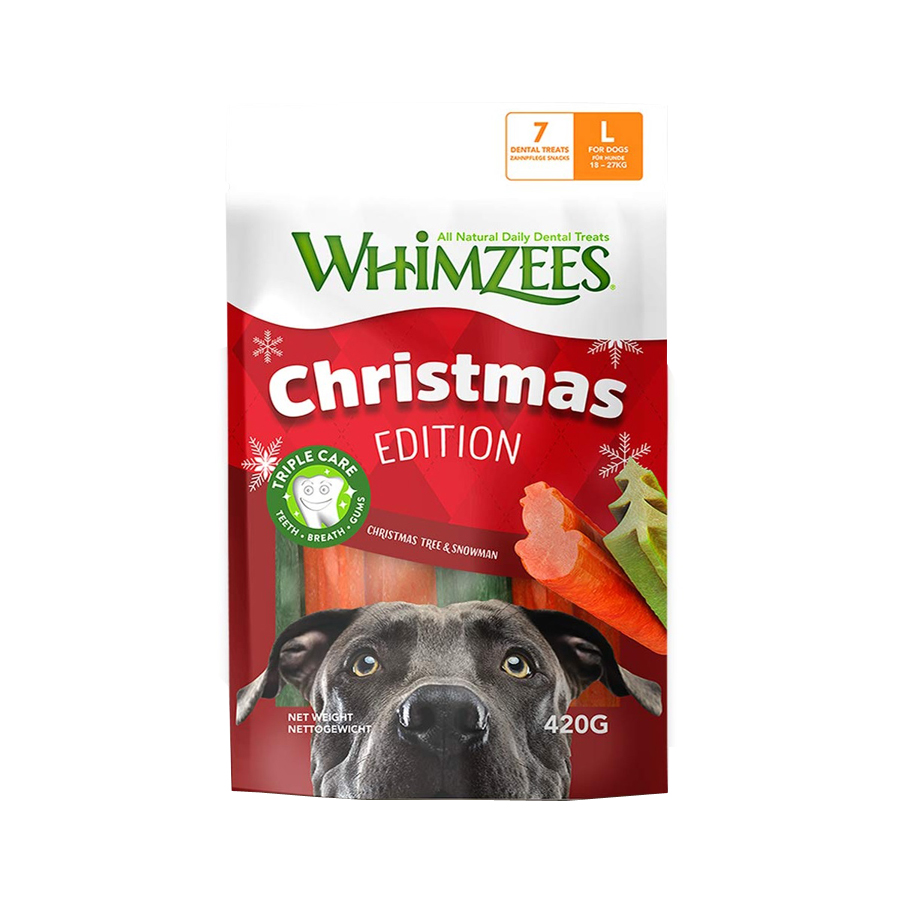 Snacks Whimzees Christmas Tree & Snowman para perros de raza grande, , large image number null