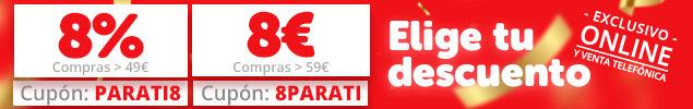 Elige tu descuento: 8% o 8€